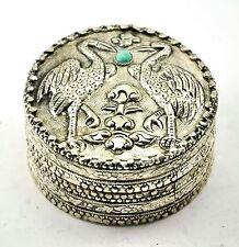 Vintage Chinese Shard Box Tibetan Silver Trinket Treasure Jewelry Mirror Crane