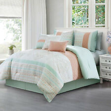 New Fresh Green Coral Embroidered Geometric 7 pcs Cal King Queen Comforter Set