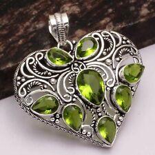 "Peridot Ethnic Handmade Heart Pendant Jewelry 2.2"" AP 18421"