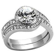 Set Women's Swirl Design Sz 5-10 Round Cut Stainless Steel Cz Wedding Ring
