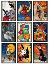 9 Vintage Halloween Witches Hang Tags ATC Cards Scrapbooking  (360)