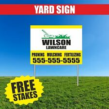 Lawn Care Yard Sign Corrugate Plastic With H Stakes Pruning Mulching Custom Name