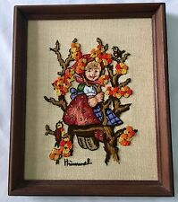 "Hummel Crewel Embroidered Needlepoint Sewing Art Little Girl Tree 11""x9"""