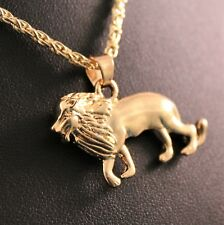 Gold Tone Alloy Lion Pendant Chain/Necklace w/Free Jewelry Box and Shipping