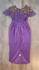 Virgos Lounge Party Dress Lilac/purple Beaded Embellished Dress Uk10