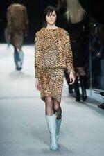 Tom Ford Goat Fur 40IT/4US/36EU Leopard Print Pencil Skirt Light & Dark Brown