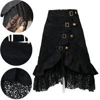 Women Gothic Steampunk Black Lace Skirt Party Club Lolita Rock Dress Wear
