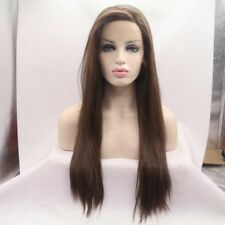 "24"" Heat Resistant Lace Front Wig Synthetic Hair Straight Medium Brown #6"
