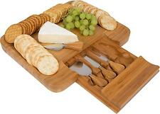Bamboo Cheese Serving Tray with Hide-Away Utensils by Trademark Innovations