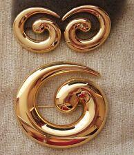 VTG MONET Huge HAUTE COUTURE Gloss Yellow Gold Tone Pin Brooch & Earrings Set