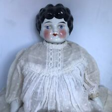 "Large Antique China Doll Kling? Little Women Apple Cheeks Black Hair 16"" #4"