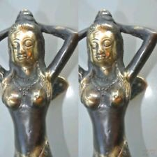 "2 MERMAID brass door PULL aged old style look heavy house PULL handle 13"" B"