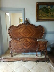 French Double Bed & Nightstand, Louis Rococo Style Bed