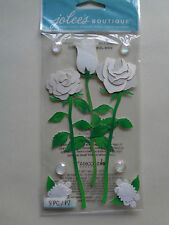 EK SUCCESS JOLEE'S Blanc Long Stem Roses Dimensional Stickers Entièrement neuf sous emballage