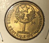 Mauritania 1974 ( AH 1394) 1 Ouguiya High Grade Collectible Coin~KM#6