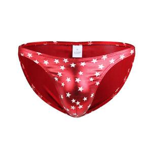 Men's Sexy Underwear Boxer Briefs Summer Star Printed Bikini Underpants Size XL