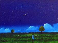 Australian Cattle Blue Heeler Dog Folk Art Print Todd Young painting Night Stars