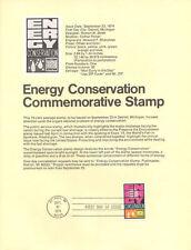 #7416 10c Energy Conservation Stamp #1547 Souvenir Page