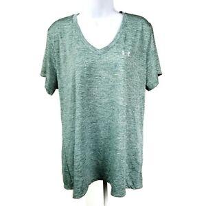 Under Armour Heatgear Green Heather Short Sleeve V Neck T Shirt Womens 2XL