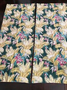 2 VINTAGE BARKCLOTH FABRIC CURTAIN PANELS TROPICAL FLORAL 74x31