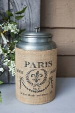 Tin Canister, Metal Kitchen Container, Storage Can with Lid, French Advertising