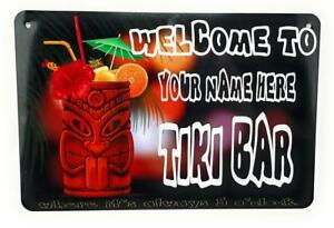 """WELCOME TO TIKI Bar Personalized with your name 12""""x8"""" Aluminum Sign"""
