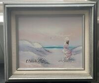 Framed Painting Victorian Lady Woman on Beach Signed Cheswick