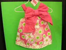 Pink Bow Lily Pad Cotton Dress by Mud Pie, Size 0-6 Months, NWT