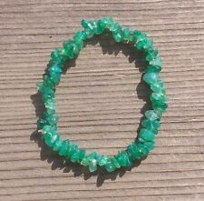 NATURAL GREEN ONYX STONE GEMSTONE STRETCHY CHIP BRACELET
