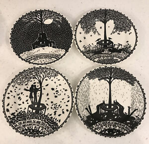 """ROB RYAN Wild & Wolf This Is Our Place Black White 2012 9"""" Dessert Plate 4 Piece"""