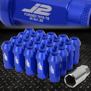 J2 ENGINEERING 7075 ALUMINUM M12X1.5 20PCS 50MM OPEN-END LUG NUTS+ADAPTER BLUE