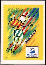 France 1998 World Cup Football Postage Paid Nantes Maximum Card Unused#C32756