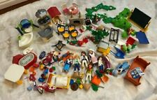 Playmobil Lot House Furniture Kitchen Bathroom Fireplace Figures Greenery More