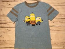 DESPICABLE ME MINIONS RINGER T SHIRT SZ MED BLUE IM WITH STUPID SHIPS QUICK!