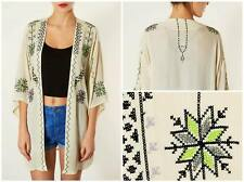 Topshop Ivory Cream Oversize Aztec Embroidered Longer Length Kimono  - Size 12