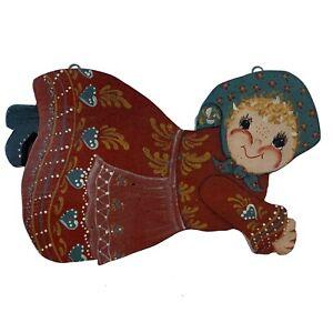 "Painted Wood Wall USA Folk Art Country Decor Handmade Flying Girl Woman 12""x8"""