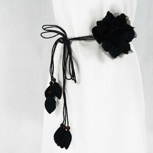 Women Big Lace Floral Knot Skinny Long Tassel Chain Belt Dress Corset Waistband