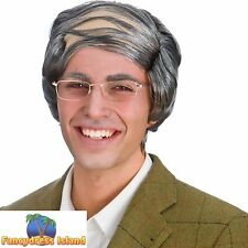 Old Man Comb Over Funny Novelty Grey Wig Adult Womens Fancy Dress Costume