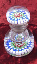More details for  millefiori glass inkwell paperweight antique decanter 19th century
