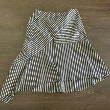 Lafayette 148 New York Asymmetrical Hem Striped Skirt Size 12 Blue White