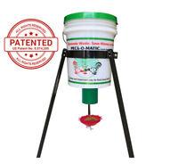 Lot of 4 Pail/Bucket with Peckomatic Demand Bird Feeder Kit & Tripod Pail Stand