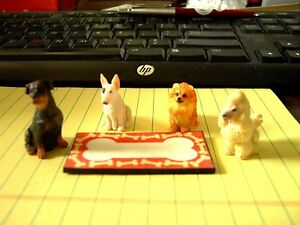Dollhouse Miniature Set 4 Dogs & Mat Poodle Pomernian Terrier Black Dog