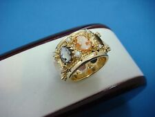 14K YELLOW GOLD LARGE CAMEO AND PEARLS VINTAGE ETERNITY BAND 11.6 GRAMS