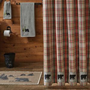BEAR COUNTRY Applique Patch Plaid tan/black/red Shower Curtain Bath Cabin Lodge