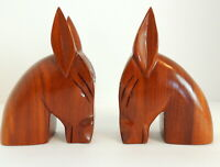 VTG Mid Century Hand Carved Bookends Wood Statues Donkey Horse Mule DEMOCRATIC