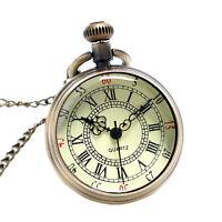 Classic Retro Bronze Roman Numerals Chain Pendant Quartz Fob Pocket Watch Gift