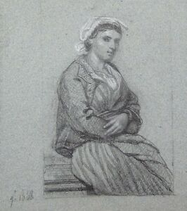 Antique French Pencil Drawing, Portrait of a Woman, 1868