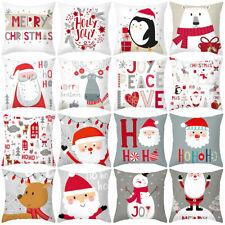 FE- 4Pcs Santa Claus Deer Print Throw Pillow Cushion Case Cover Home Car Sofa De