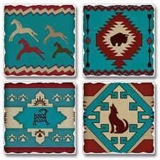 Western Lodge Cabin Decor ~Anasazi Spirit~ Tumbled Stone Coasters Set of 4
