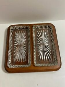Vtg Wood 2 Glass Serving Dish Relish Pickle Cheese Charcuterie Plate Platter